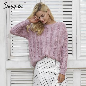 Simplee Tassels warm knitting pullover Fashion soft autumn winter knitted sweater
