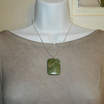 70ct. Green Stone, Semi Precious, Agate, Pendant, Necklace, Rectangle, Natural Stone, 161-15