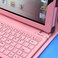 Newly Protective Case Bag Cover Protector With Bluetooth Keyboard for iPad 2 ipad2 Soft Layer Pink