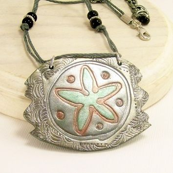 Steampunk Sanddollar Pendant Necklace, Artisan Handmade Polymer Clay Jewelry