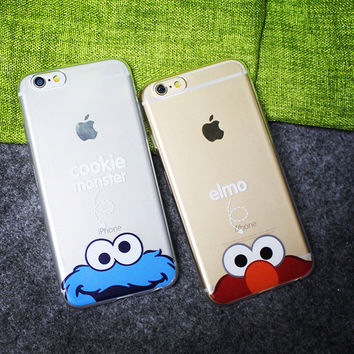 New Popular Painting Cartoon Diamond Dog Elmo Cookie Monsters Silicon Phone Cases For Apple iPhone 6 6s Plus Case Capa Shell