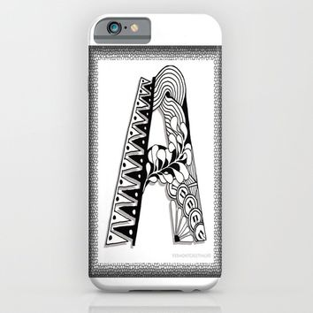 Zentangle A Monogram Alphabet Illustration iPhone & iPod Case by Vermont Greetings