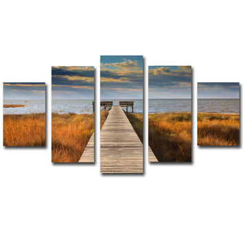 5 Panel Canvas Painting Seaside Landscape Art Canvas Picture Sunset Wall Art Wall Picture Poster Modern for Living Room No Frame