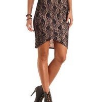 Lace Midi Skirt with Envelope Hem by Charlotte Russe