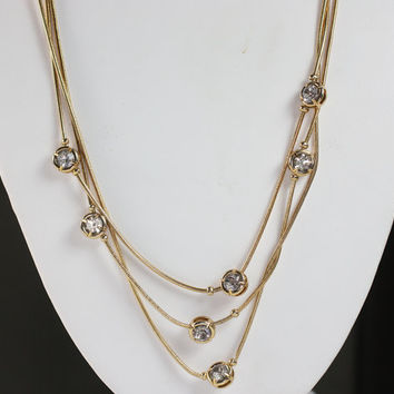 Triple Serpentine Chain Necklace Crystal Accents Gold Tone Vintage