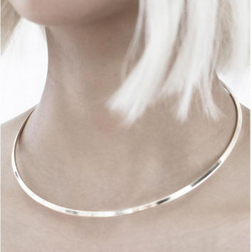 New Trendy Open Cuff Necklace Stainless Steel Choker Glossy Round Loop Torques Collares Plated Silver Gothic Jewelry Necklaces