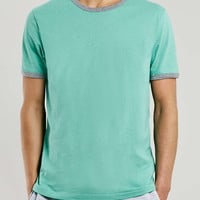 Green Grey Slim Ringer T-Shirt