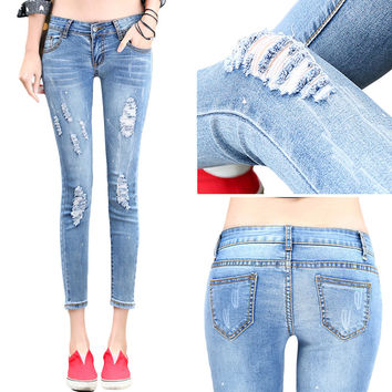 Skinny Pencil Slim Jeans with Ripped, Hole & Scratched Elastic Pant