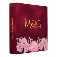 Monogrammed pink roses and peony on burgundy 3 ring binder