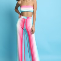 Pastel Striped Tube Top With Wide Leg Pants Set
