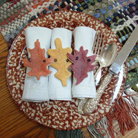 Autumn Leaves Thanksgiving Napkin Rings - Fall Decor Set of 8 Salt Dough Ornaments