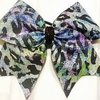 CHEERLEADING BOW - MULTI COLOR METALLIC HOLOGRAM CHEETAH ANIMAL PRINT FULL CHEER BOW CHEERLEADING BOW - BIG 3 inch base ribbon on elastic PONY-O