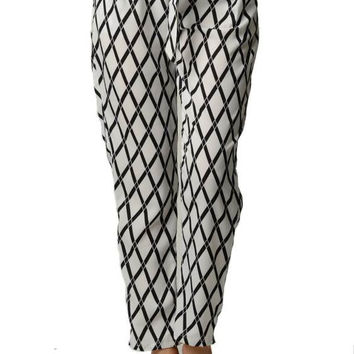 Diamond Print High Waist Harem Pants