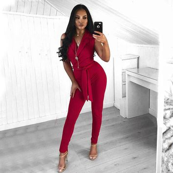 Glamaker Elegant sashes bow tie jumpsuit romper Sexy sleeveless high waist jumpsuit overalls Women office suit solid jumpsuit