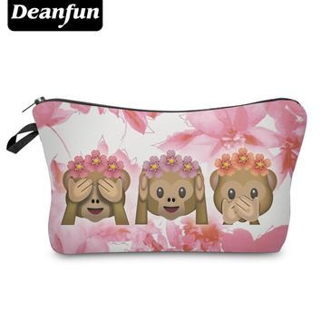 Deanfun Cosmetic Bags 3D Printed Emoji Monkey with Flower Cute Gift for Girl Organizer Makeup Dropshipping 50078