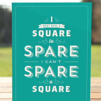 I Can't Spare A Square - Seinfeld Greeting Card - Elaine Quote - Birthday Card