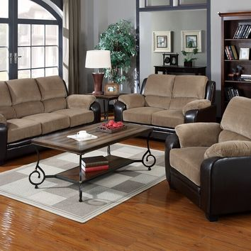 2 pc Oisin collection two tone light brown corduroy and dark brown vinyl upholstered sofa and love seat set