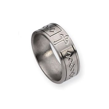 Titanium, 8mm Featured Cross Ring, Size 12.5