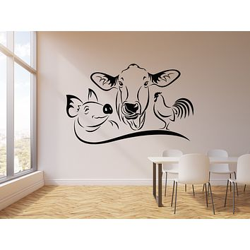 Vinyl Wall Decal Farm Animals Cow Pig Rooster House Pets Stickers Mural (g1343)