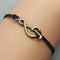Vintage Style Bronze Musical Note black Wax Cord by Haoyou on Etsy