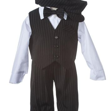 Black Pinstriped Knicker Set with Hat and Vest