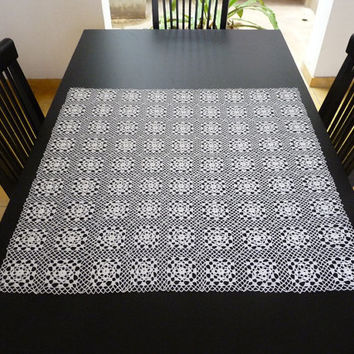 """SALE - 15% OFF White crochet square small tablecloth - new, handmade, 31"""""""