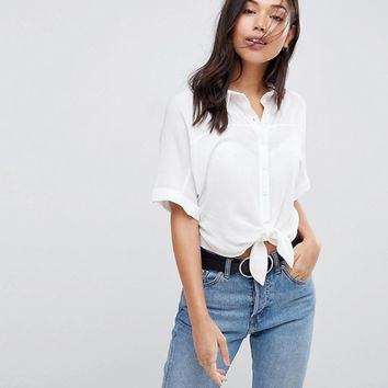 ASOS Tie Front Shirt in Crinkle at asos.com