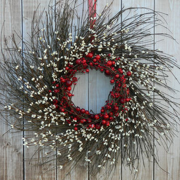 Primitive Wreath - Red Wreath - Holiday Door Decoration -  Christmas Decor