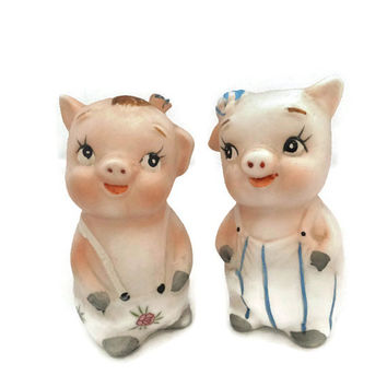 Vintage Pigs Salt and Pepper Shakers Ceramic Bisque Kitchen Collectible