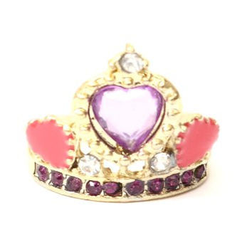 Crystal Heart Tiara Ring Size 5.5 Monarch Crown Jewels Queen RG10 Gem Princess Cocktail