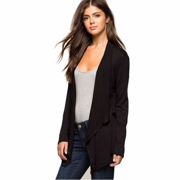 2016 Fashion Autumn Winter Black jacket women coat Long Sleeve Jacket Femme Irregular Cardigan with High Quality #LYW