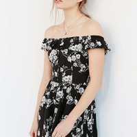 Kimchi Blue Button-Front Off-The-Shoulder Romper - Urban Outfitters
