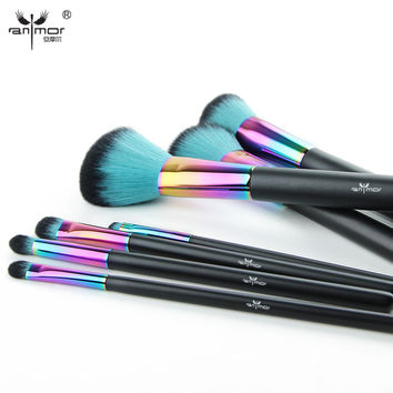 High Quality Copper 7 pcs Makeup Brush Set New Colorful Pinceaux Maquillage Beautiful Powder Blush Eyeshadow Make Up Brushes