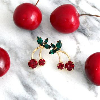 Cherry Earrings, Cherry Stud Earrings, Green Red Earrings, Fruit Earrings, Red Earrings, Tropical Wedding Jewelry,  Bridesmaids Earrings