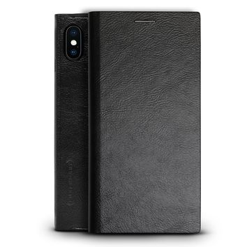 Hickory Black Leather Series case for iPhone X with Your Very Own Design