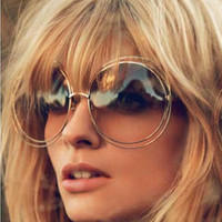 Round Double Wire Frame Sunglasses With Reflective Coating Vintage Styling