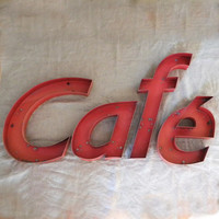 RESERVED Vintage metal café sign by lapomme on Etsy