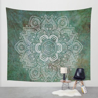 Wall Tapestry - 'Green and Silver Mandala' - Home,Decor, Wall,Modern, Home Warming Gift, Symmetry, Harmony, Bohemian, Boho, Hippie