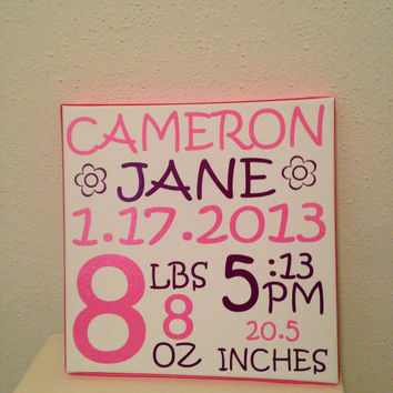CUSTOM BABY Name Plaque Birth Announcement