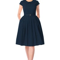 Peter Pan collar poplin belted dress