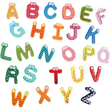 Hot Pack of 26 Pcs Cute Teaching Magnetic Alphabets Letters Fridge Wall Stickers