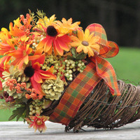 Fall Colored Rustic Fall Cornucopia Centerpiece for Rustic Fall Wedding or Home Decor Autumn Floral Arrangement
