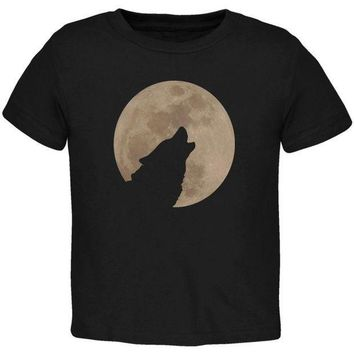 CREYCY8 Wolf Howling Moon Silhouette Toddler T Shirt