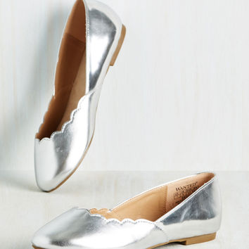 Gleam It, Do It Flat in Silver | Mod Retro Vintage Flats | ModCloth.com