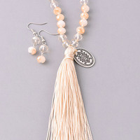 Beaded Beauty Tassel Necklace