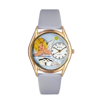 Whimsical Watches Healthcare Nurse Appreciation Gift Accessories Angel Baby Blue Leather And Goldtone Watch