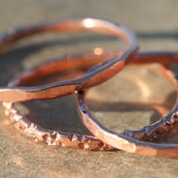 Set of Three Textured Copper Band Stacking Rings
