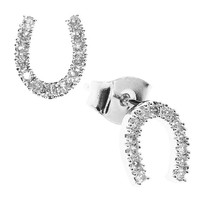 Tai Lucky Horsehoe SIlver Stud Earrings
