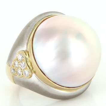 Vintage Large 22mm Mabe Pearl Diamond 18 Karat Gold Cocktail Ring Estate Jewelry 6.5