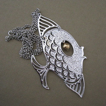 Go Fish Large Articulated Silver Fish Pendant Necklace